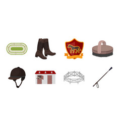 Hippodrome and horse icons in set collection for vector