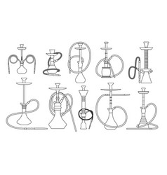 hookah line set with pipe for smoking tobacco and vector image