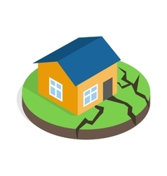 House after an earthquake icon isometric 3d style vector image