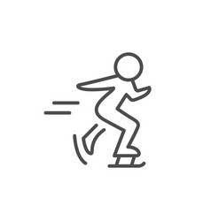 ice skating line outline icon vector image