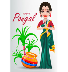indian girl with pot and sugarcane happy pongal vector image