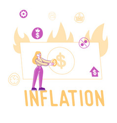 inflation price rising and stock market recession vector image