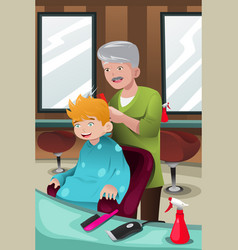 Kid getting a haircut vector