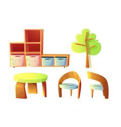 kindergarten furniture for childrens class room vector image