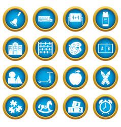 kindergarten symbol icons blue circle set vector image