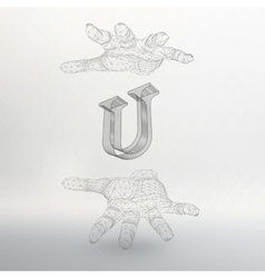 Letter U and hand of lines vector