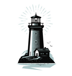 Lighthouse logo or label marine concept vector