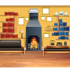 Living room with fireplace and bookshelves vector