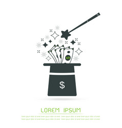 magic hat and money isolated object vector image