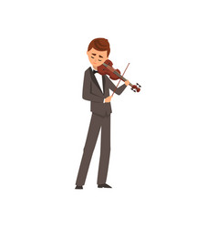 Male musician playing violin violinist wearing vector