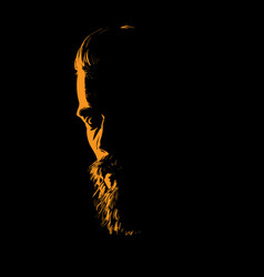 man portrait silhouette in backlight vector image