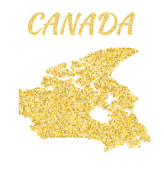 map of canada in golden with gold yellow vector image