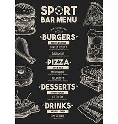 Menu sport bar restaurant food template placemat vector image