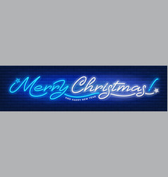 merry christmas and happy new year neon text vector image