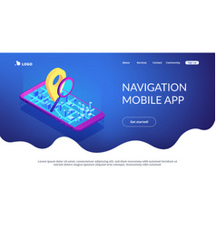 Mobile tracking soft isometric 3d landing page vector
