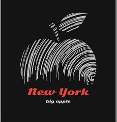 new york big apple t-shirt graphic design vector image