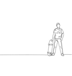 one single line drawing young skateboarder man vector image