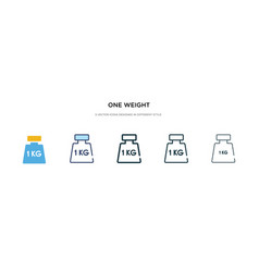 One weight icon in different style two colored vector