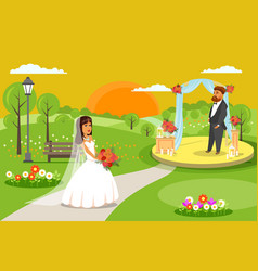 outdoor wedding ceremony party flat vector image