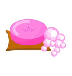 pink soap with foam bubbles vector image