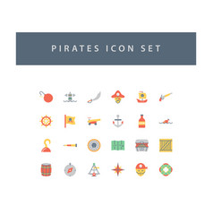 pirates icon set with colorful modern flat style vector image