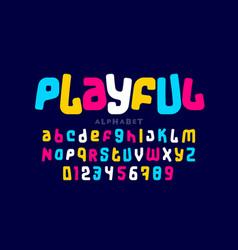 Playful colorful font design vector