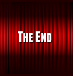 Red stage curtain and the end text vector