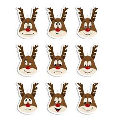 Reindeer christmas icons set moving deer vector