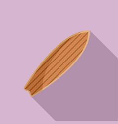 retro wood surfboard icon flat style vector image