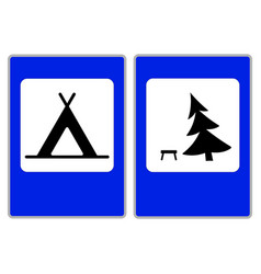 Roadsigns on the white camping vector