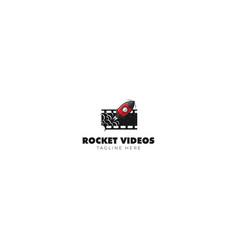 rocket film studio logo design vector image