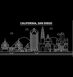 san diego silhouette skyline usa - san diego vector image