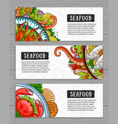 Seafood banner template set vector