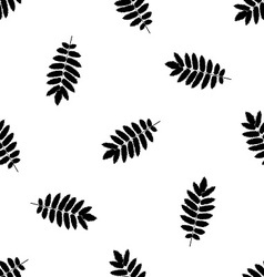 Seamless pattern with autumn rowan leaves vector image