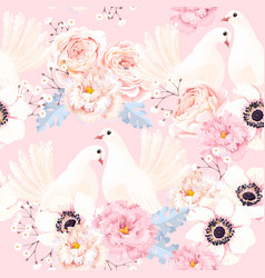 Seamless pattern with flowers and doves vector