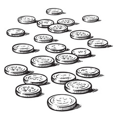 sketch coins isolated on white background vector image