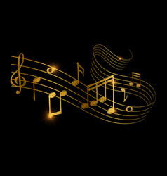 Sketch of golden musical sound wave with music vector