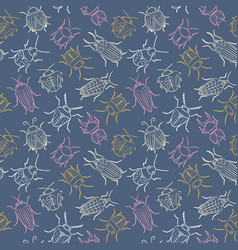 small funny bugs seamless pattern vector image
