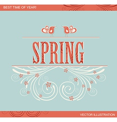 Spring word flowers and bird vector