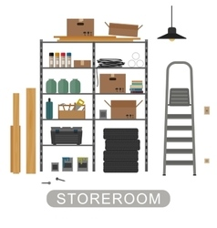 Storeroom interior on white background vector image