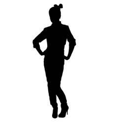 stylish teenager girl pose silhouette vector image