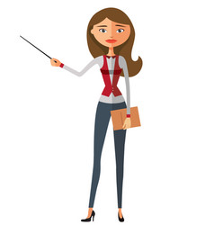 Teacher blond lady with a pointer vector