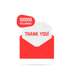 Thank you for 100000 followers text in red letter vector