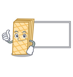 thumbs up with board waffle character cartoon vector image