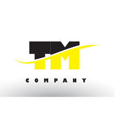 Tm t m black and yellow letter logo with swoosh vector