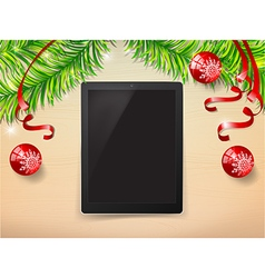 Top view of tablet and christmast ball with copy vector image