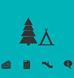 Tourist tent icon flat vector