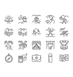 Trekking line icon set vector