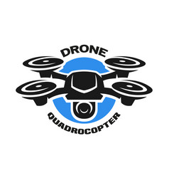 Video drone quadrocopter logo vector