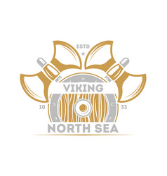 Viking north sea isolated label with warrior ax vector